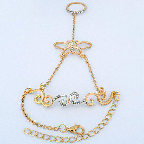 Retro Rhinestone Rattan Butterfly Bracelet with Ring - GOLDEN