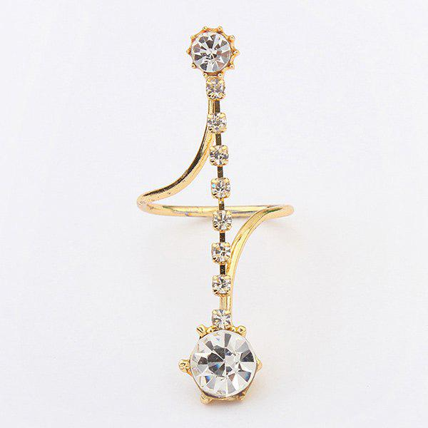 Cute Layered Rhinestone Ring For Women - GOLDEN ONE-SIZE