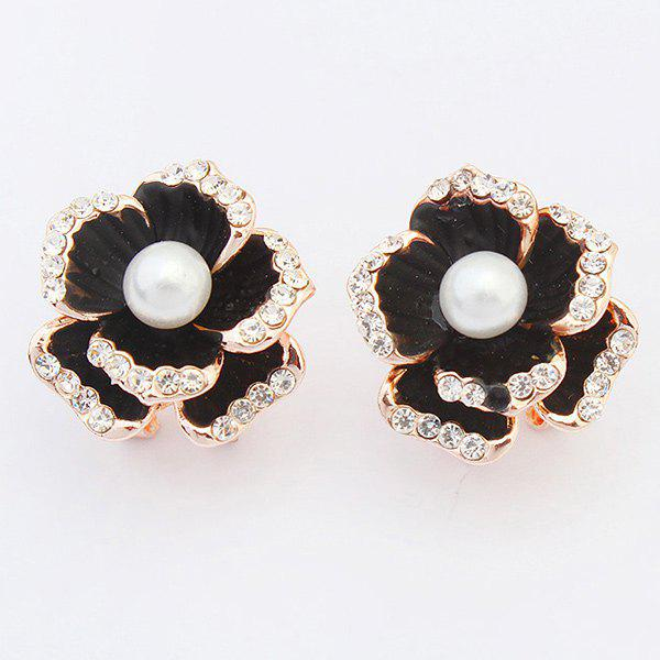 Pair of Chic Faux Pearl Rhinestone Blossom Earrings For Women - BLACK