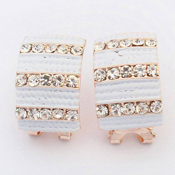 Pair of Vintage Rhinestone Alloy Geometric Earrings For Women