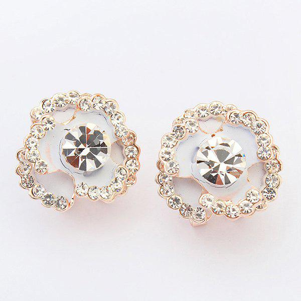 Pair of Charming Rhinestone Blossom Jewelry Earrings For Women -  WHITE