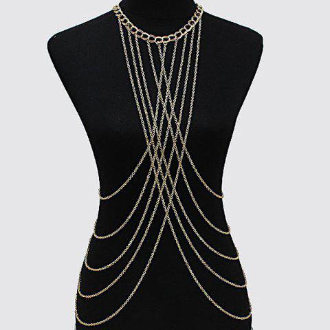 Stylish Golden Multilayer Crossed Tassel Body Chain For Women