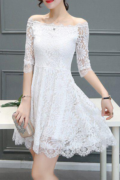 Trendy 3/4 Sleeve Pleated Dress For Women - WHITE L