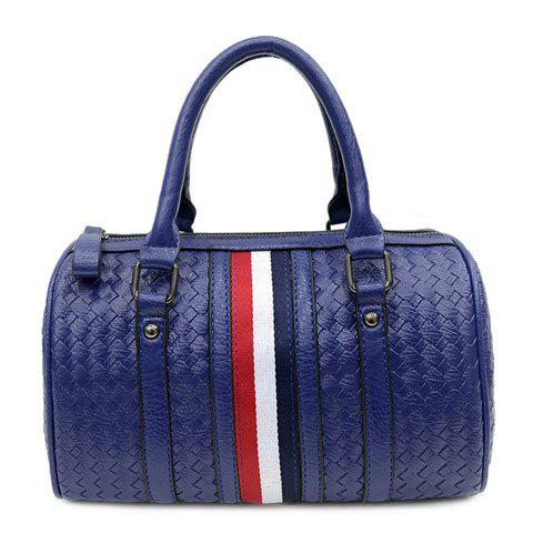 Fashionable Striped and Weaving Design Women's Tote Bag - BLUE