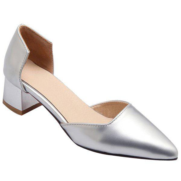 Buy Stylish Chunky Heel Patent Leather Design Women's Pumps SILVER
