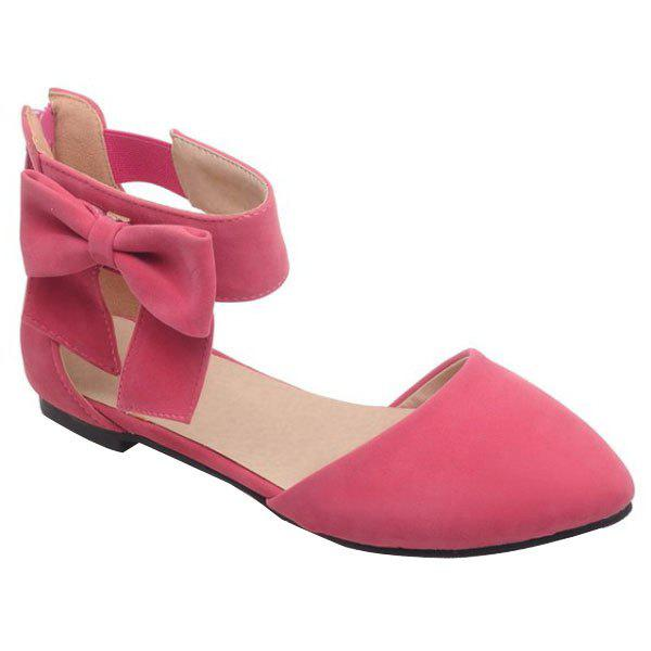 Ladylike Bow and Zipper Design Women's Flat Shoes - RED 34