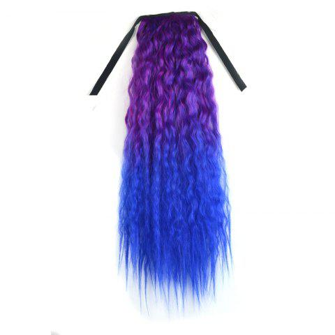 Trendy Long Capless Fluffy Corn Hot Curly Synthetic Purple Ombre Blue Ponytail For Women - OMBRE 1211