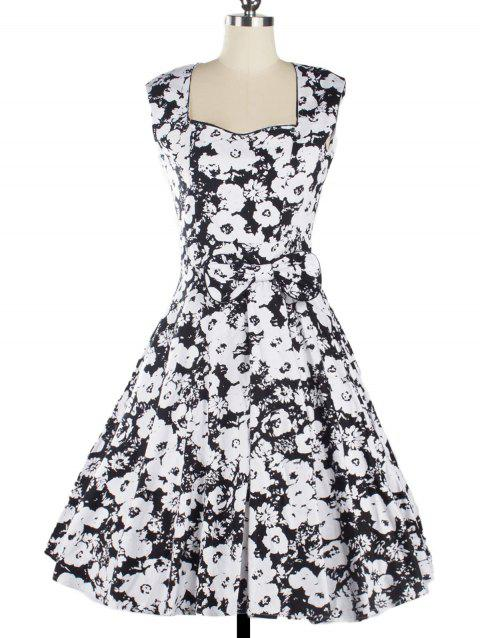 Vintage Women's Floral Print Sleeveless Sweetheart Neck Dress - BLACK 2XL