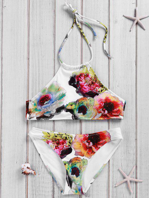 Chic Backless Halter Floral Print Bikini Suit For Women - WHITE M