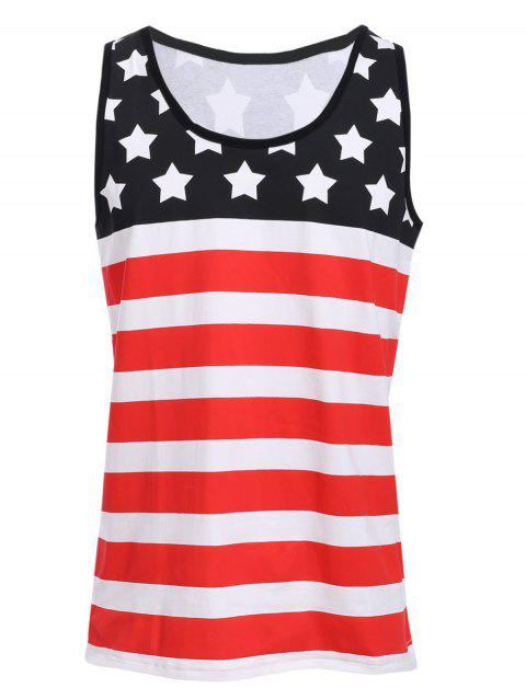 Sport col rond Stripes Star Print Men 's Tank Top Color Block - multicolore S