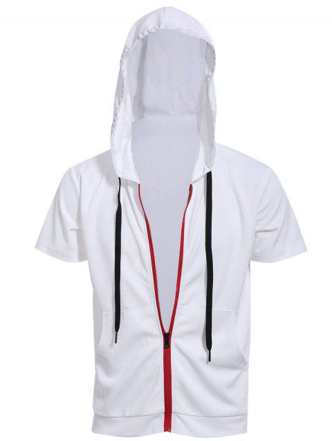 Red Zipper Fly Front Pocket Hooded Short Sleeves Men's White Hoodie - WHITE 3XL