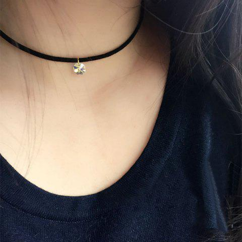 Punk Fake Crystal Leather Choker Necklace - BLACK