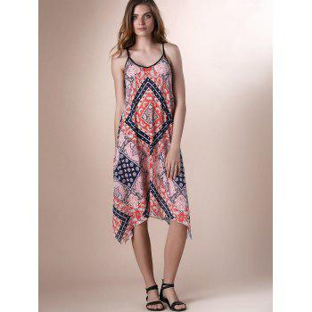 Bohemian Spaghetti Strap Printed Lace-Up Asymmetrical Women's Dress - L L