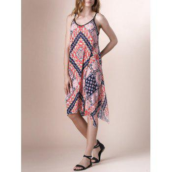 Bohemian Spaghetti Strap Printed Lace-Up Asymmetrical Women's Dress - COLORMIX L