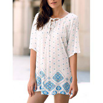 Simple Style Jewel Collar Flower Print Hollow Out T-Shirt For Women