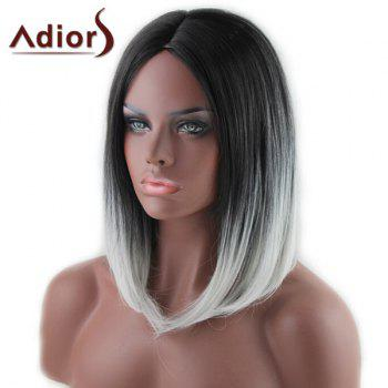 Stylish Medium Black Ombre White Capelss Straight Centre Parting Women's Synthetic Adiors Wig - OMBRE