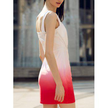 Fashionable Sleeveless Skinny Color Block Women's Dress