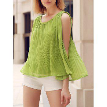 Chic Scoop Neck Loose-Fitting Solid Color Pleated Women's Tank Top