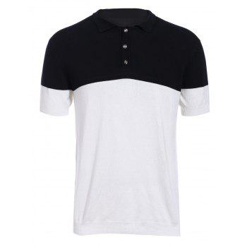 Fashion Turn-down Collar Color Block Short Sleeves Men's Knit Polo T-Shirt