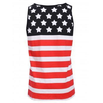 Sports Round Neck Stripes Star Print Men's Color Block Tank Top - COLORMIX S