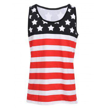 Sports Round Neck Stripes Star Print Men's Color Block Tank Top