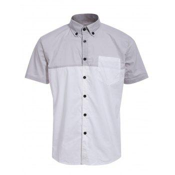 Fashion Shirt Collar One Pocket Color Block Men's Short Sleeves Button-Down Shirt