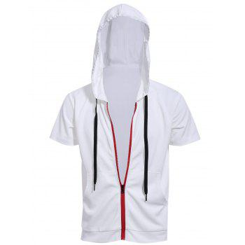 Red Zipper Fly Front Pocket Hooded Short Sleeves Men's White Hoodie