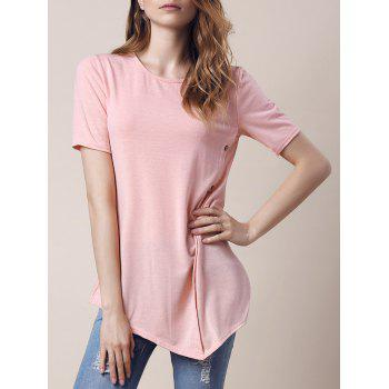 Trendy Short Sleeve Round Collar Asymmetrical Button Design Women's T-Shirt