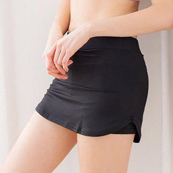 Fashionable Mid-Waist Solid Color Skirted Women's Sports Shorts - BLACK BLACK