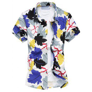 Casual Plus Size Leaves Printing Turn Down Collar Shirt For Men