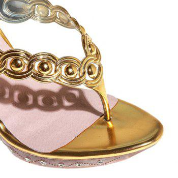 Fashion Flip Flop and Rhinestone Design Women's Slippers - 34 34