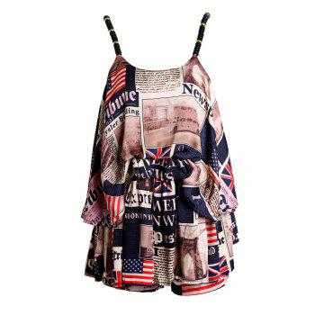 Stylish Women's Spaghetti Strap Newspaper Print Top + Shorts Twinset