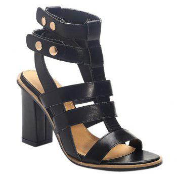 Vintage Solid Color and Chunky Heel Design Women's Sandals
