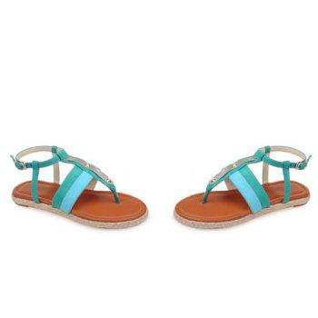 Simple Weaving and Color Block Design Women's Sandals - GREEN 38