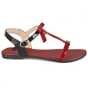 Casual T-Strap and Color Block Design Women's Sandals - WINE RED 35