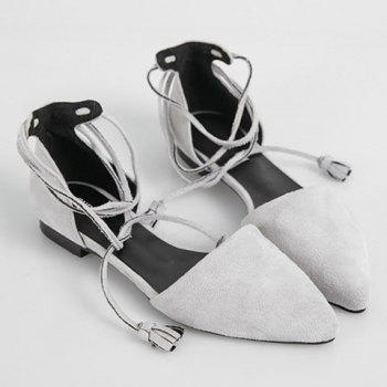 Trendy Lace-Up and Tassels Design Women's Flat Shoes - LIGHT GRAY LIGHT GRAY