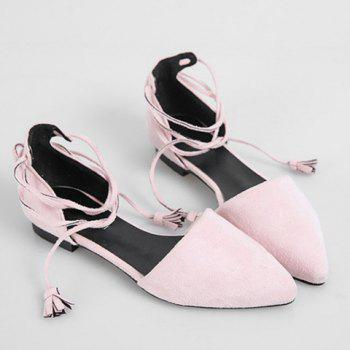 Trendy Lace-Up and Tassels Design Women's Flat Shoes - 36 36