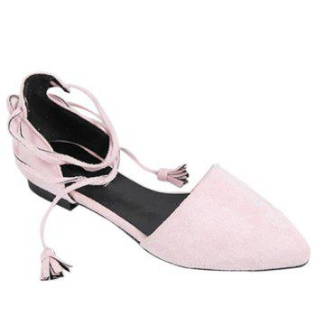 Trendy Lace-Up and Tassels Design Women's Flat Shoes - PINK 36