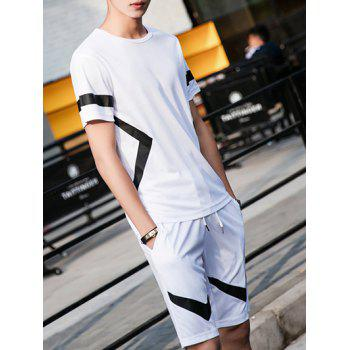 Men's Color Block Irregular Print Round Neck Short Sleeve T-Shirt + Shorts Suit