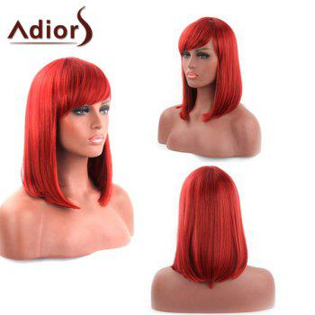 Stylish Medium Red Side Bang Straight Heat Resistant Fiber Adiors Wig For Women