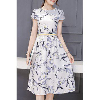 Lady Like Short Sleeve Round Neck Floral Print Spliced Women's Dress