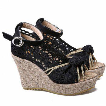 Sweet Hollow Out and Peep Toe Design Women's Wedge Shoes - BLACK BLACK