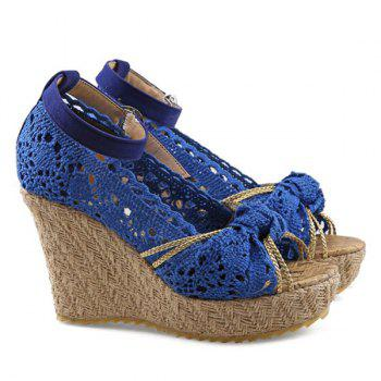 Sweet Hollow Out and Peep Toe Design Women's Wedge Shoes - BLUE 35