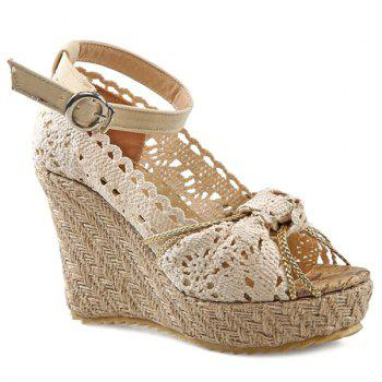 Sweet Hollow Out and Peep Toe Design Women's Wedge Shoes - OFF-WHITE 34