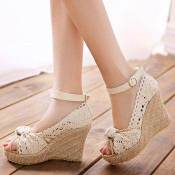 Sweet Hollow Out and Peep Toe Design Women's Wedge Shoes - 37 37