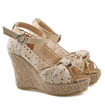 Sweet Hollow Out and Peep Toe Design Women's Wedge Shoes - OFF WHITE 39