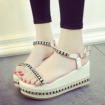 Leisure Rivets and Platform Design Women's Sandals - WHITE 35