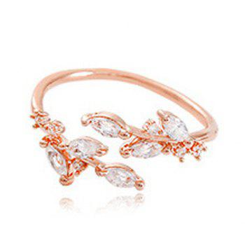 Artificial Zircon Leaf Opening Ring