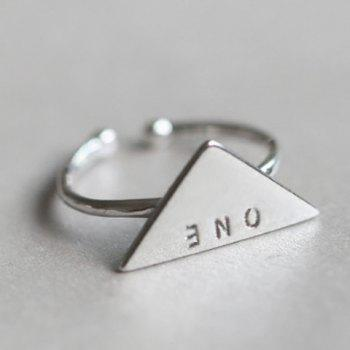 Triangle Letters Opening Ring - SILVER