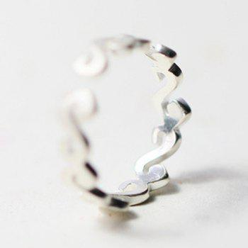 Frosted Sea Wave Shape Ring - SILVER